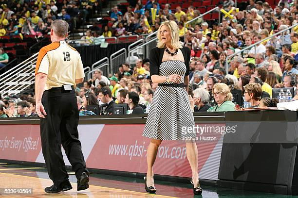 The Head coach Jenny Boucek of the Seattle Storm is seen against the Minnesota Lynx on May 22 2016 at KeyArena in Seattle Washington NOTE TO USER...