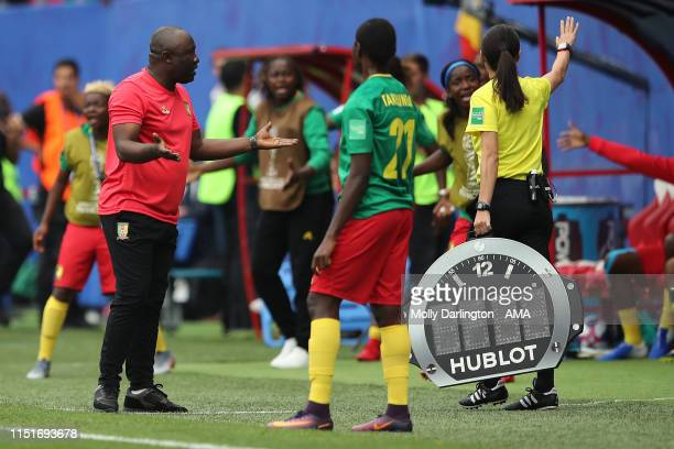 The head coach / manager of Cameroon Alain Djeumfa reacts after a VAR decision is made against Cameroon during the 2019 FIFA Women's World Cup France...