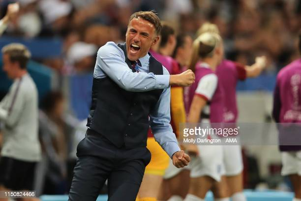 The head coach / manager of England Phil Neville celebrates after Ellen White of England scores to make it 01 during the 2019 FIFA Women's World Cup...