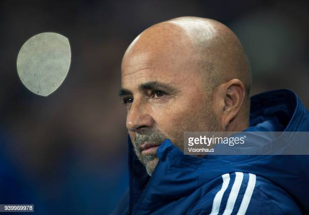 The head coach of Argentina Jorge Sampaoli before the International Friendly match between Argentina and Italy at Etihad Stadium on March 23 2018 in...