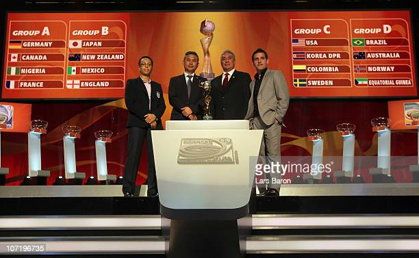 The head coaches from group B Hope Powell of England Norio Sasaki of Japan Leanardo Cuellar of Mexico and John Herdman of New Zealand pose with the...