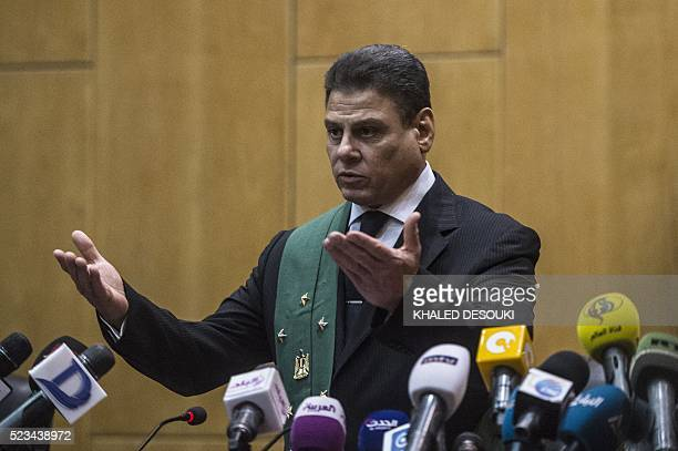 The head judge of the criminal court Mohamed Sherin Fahmi speaks during the trial of Egypt's ousted Islamist president in Cairo at the police academy...