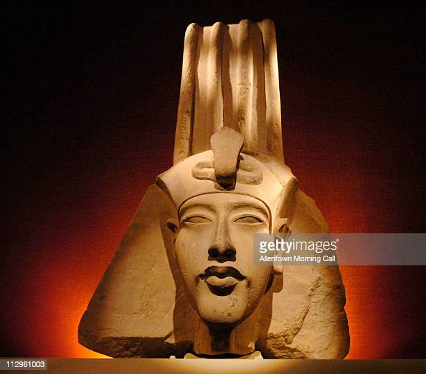 The head of a colossal statue of Amenhotep IV pictured January 31 is part of the Tutankhamun and the Golden Age of the Pharaohs exhibit at The...