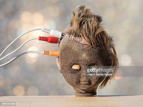 The head of a doll with electric cables connected to the brain