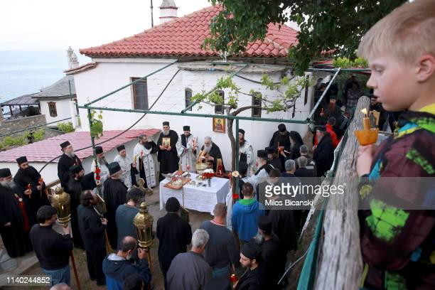 The head of a Osiou Gregoriou monastery Igumen Christophoros and Orthodox Christian worshippers during the Easter Monday Litany in Osiou Gregoriou...