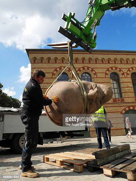 The head of a sculpture of Russian revolutionary Vladimir Lenin is ready for an exhibition of monuments in the citadel in Spandau district on...