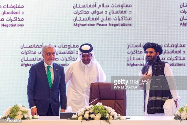 The head of Afghanistan's High Council for National Reconciliation Abdullah Abdullah, Qatar's envoy on counter-terrorism Mutlaq al-Qahtani, and the...