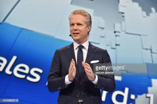 The head of car manufacturer Audi Amerika Scott Keogh speaks during the North American International Auto Show at the Cobo Center Detroit inDetroit...