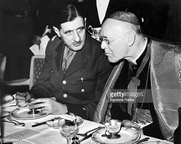 The Head Of Free French Forces Speaking With The Archibishop Of Westminster On A Lunch In Grosvenor House