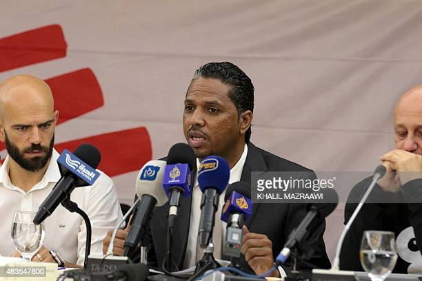 The head of French NGO Doctors Without Borders in Yemen Ghazali Babiker speaks next to Doctor Tamam alOdat during a press conference on the...