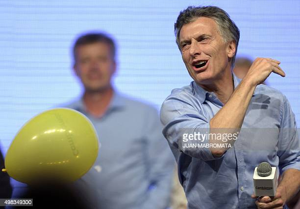 The Head of Government of the Autonomous City of Buenos Aires and candidate for the Cambiemos party Mauricio Macri delivers a speech at the Cambiemos...