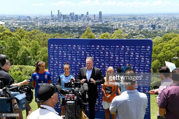 The Head of Hyundai ALeague and Westfield WLeague Greg OÕRourke speaks during the official launch of the WLeague Finals Series at Brisbane Lookout on...