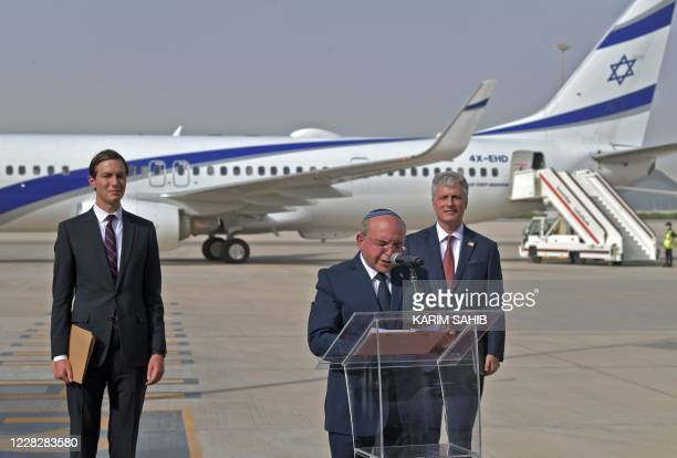 The Head of Israel's National Security Council, Meir Ben-Shabbat, speaks as he stands next to US Presidential Adviser Jared Kushner and US National...