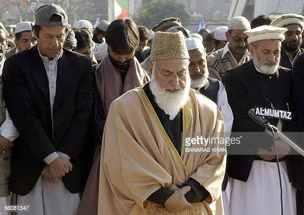 The head of Pakistan's main fundamentalist Islamic party of JamaatiIslami Qazi Hussain Ahmad cricketturned politician Imran Khan president of Jammu...
