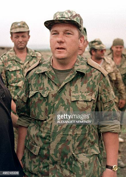 The head of Russia's western front in Chechnya General Vladimir Shamanov enters in May 1996 in the Chechen stronghold of Bamut a village in western...