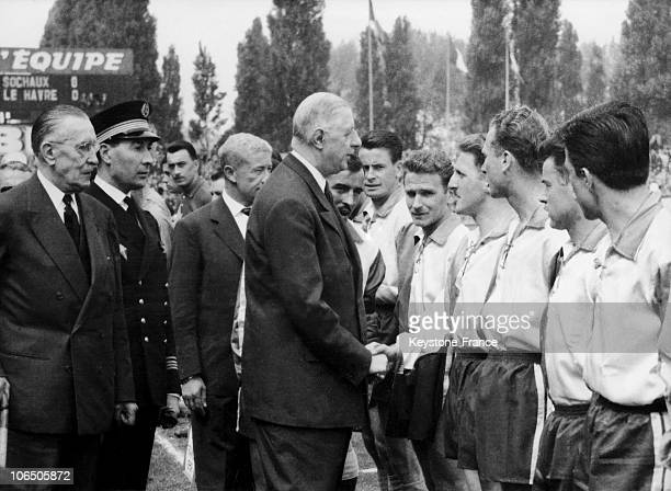 The Head Of State Shaking Hands With Some Football Players Before The Match Le HavreSochaux In Colombes