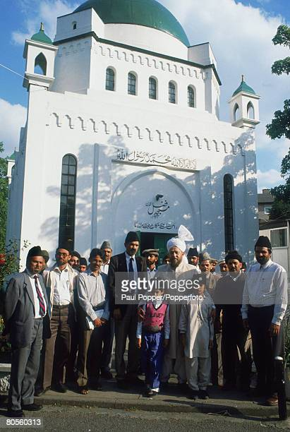 The head of the Ahmadiyya Muslim community in Britain stands outside the Fazal Mosque in London's Southfield circa 1990 The Fazal Mosque was the...