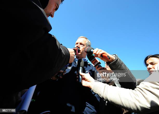 The head of the civil protection Guido Bertolaso speaks to journalists after a ceremony at the military academy of Coppito marking the first...