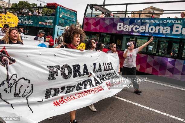 The head of the demonstration is seen as it passes through Plaza Catalunya More than 3000 people have demonstrated in the center of Barcelona to...