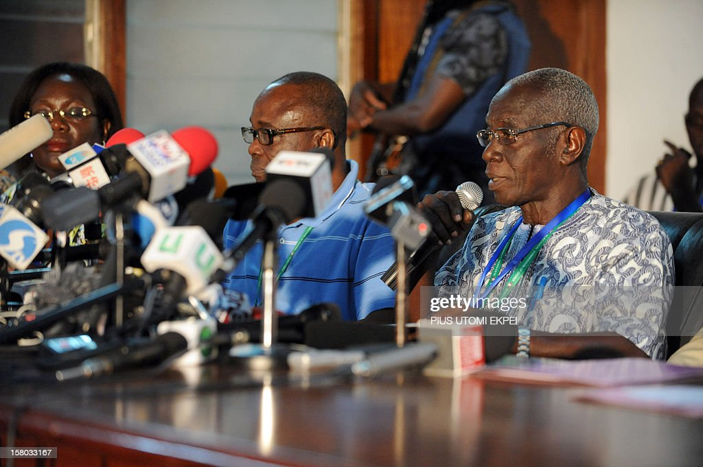 The head of the electoral commission, Kwadwo Afari-Gyan (R), announces on December 9, 2012 results of the December 7-8 presidential election in Accra. Ghanaian incumbent John Dramani Mahama was declared winner of closely fought presidential polls, but the opposition alleged fraud in a nation that has been seen as a model of African democracy. According to the electoral commission, Mahama won with 50.70 percent compared to opposition candidate Nana Akufo-Addo's 47.74 percent. With eight candidates in the race, more than 50 percent was needed to avoid a second-round runoff.