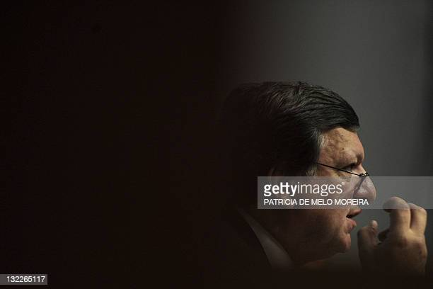 """The head of the European Commission Manuel Barroso gestures as he attends a conference on """"Higher Education in the Framwork of the 2020 European..."""