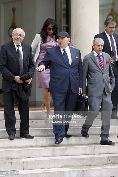 The head of the European Jewish Congress Moshe Kantor leaves on July 8 2014 the presidential Elysee palace in Paris after a meeting with French...