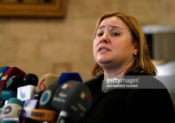The head of the European Union Delegation to Yemen Antonia CalvoPuerta speaks to the press prior to her departure at the Sanaa international airport...