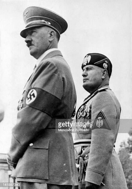 The head of the government of the Kingdom of Italy of Benito Mussolini and the Chancellor of the Third Reich Adolf Hitler attending a parade of the...