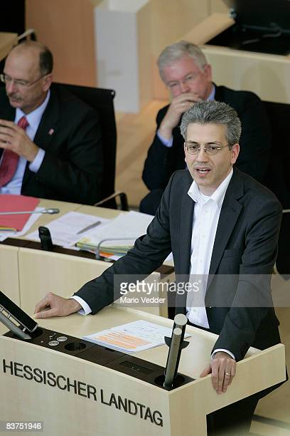 The head of the Greens of Hesse Tarek AlWazir speaks at the state parliament on November 19 2008 in Wiesbaden After four members of the SPD factions...