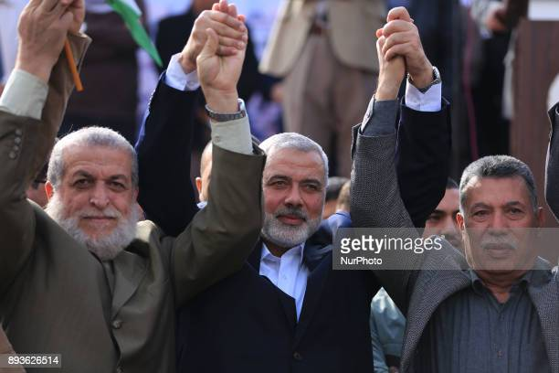 The head of the Hamas political bureau Ismail Haniyeh gesture during a protest in Gaza City on December 15 2017 against US President Donald Trump's...