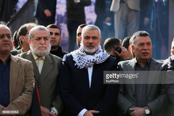The head of the Hamas political bureau Ismail Haniyeh is seen during a protest in Gaza City on December 15 2017 against US President Donald Trump's...