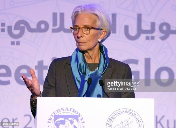 The head of the International Monetary Fund Christine Lagarde delivers a speech during the international conference on Islamic finance in Kuwait City...