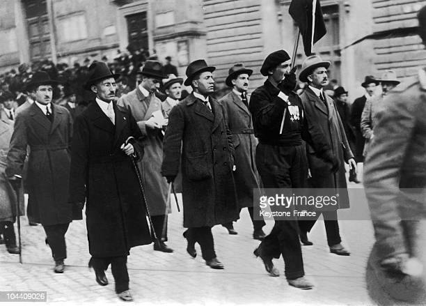 The head of the Italian Combat Veteran's League Benito MUSSOLINI on his way to the Augustus Theatre to attend the first Fascist meeting in Rome in...