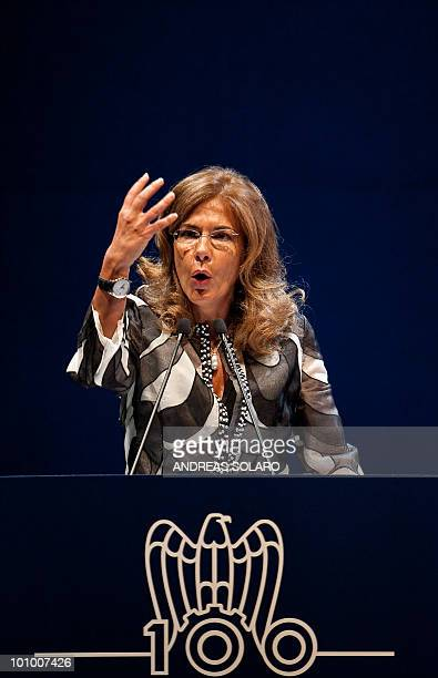 The head of the Italian employers group, the Confindustria, Emma Marcegaglia delivers a speech during 100th anniversary Congress of the Confindustria...