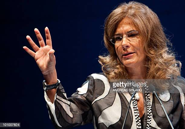 The head of the Italian employers group, the Confindustria, Emma Marcegaglia delivers a speech during the 100th anniversary Congress of the...