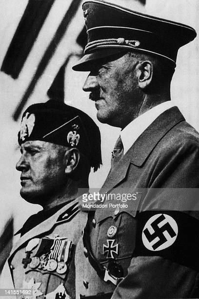 The Head of the Italian Government Benito Mussolini posing with the German Chancellor Adolf Hitler. 1930s