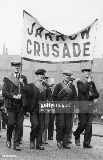 The head of the Jarrow Crusade seen here during the first stage of their journey to London 5th October 1936