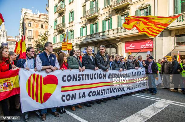 The head of the manifestation of the Spanish unionism through Via Laietana of Barcelona Spain celebrates today the 39 anniversary of its Constitution...