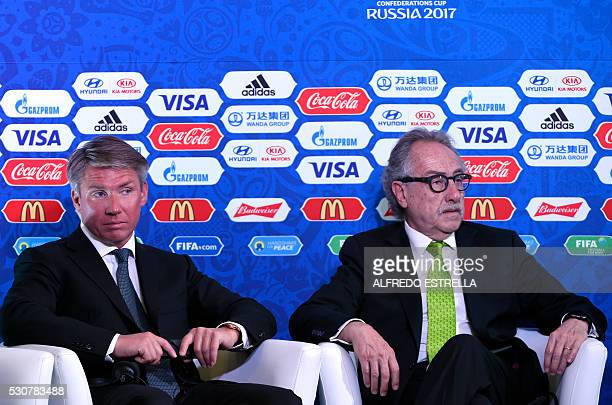 The head of the organising committee for the Confederations Cup 2017 and Russia 2018 World Cup Russia's Alexei Sorokin and the president of the...