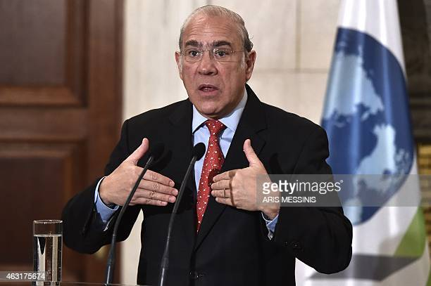 The head of the Organization for Economic Cooperation and Development Angel Gurria gives a press conference after his meeting with the Greek prime...