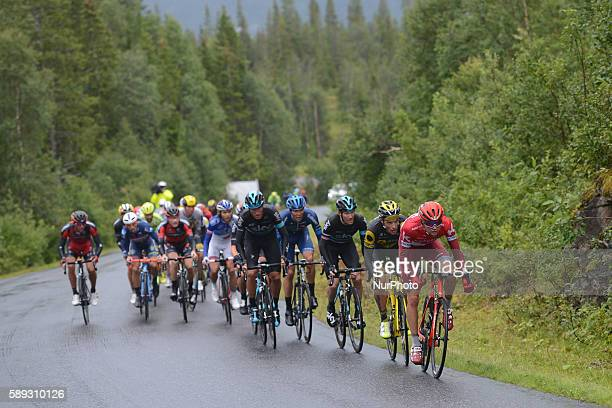 The head of the peloton with Italian Gianni Moscon from Team SKY three kilomtres ahead of the finish line of the third stage of the Arctic Race of...