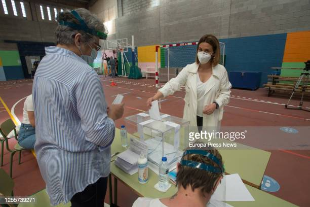 The head of the PSdeG list for the province of Lugo Patricia Otero votes in the regional elections of Galicia in the Pavilion Os Castros in the town...