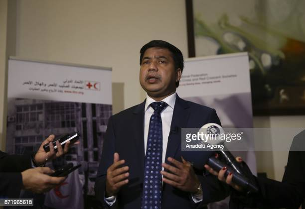The head of the Red Crescent in Bangladesh Mohammad Habibe Millat speaks to press during the International Federation of Red Cross and Red Crescent...