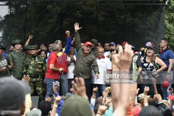 The head of Venezuela's Constituent Assembly Diosdado Cabello gestures after dilivering a speech in San Antonio del Tachira Venezuela border with...