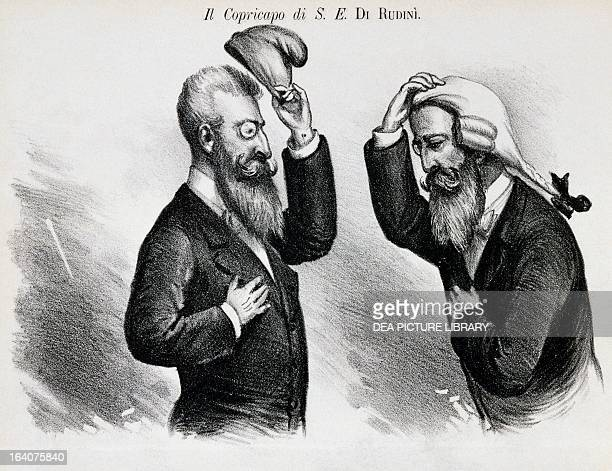 The head piece of His Eminence Di Rudini satirical cartoon from The Pasquino 29 March 1896 Italy 19th century