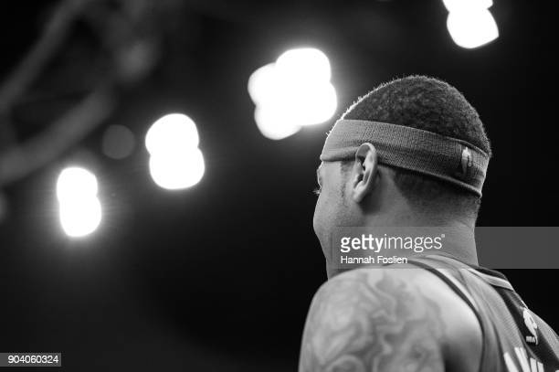 The headband of Carmelo Anthony of the Oklahoma City Thunder is seen during the game against the Minnesota Timberwolves on January 10 2018 at the...