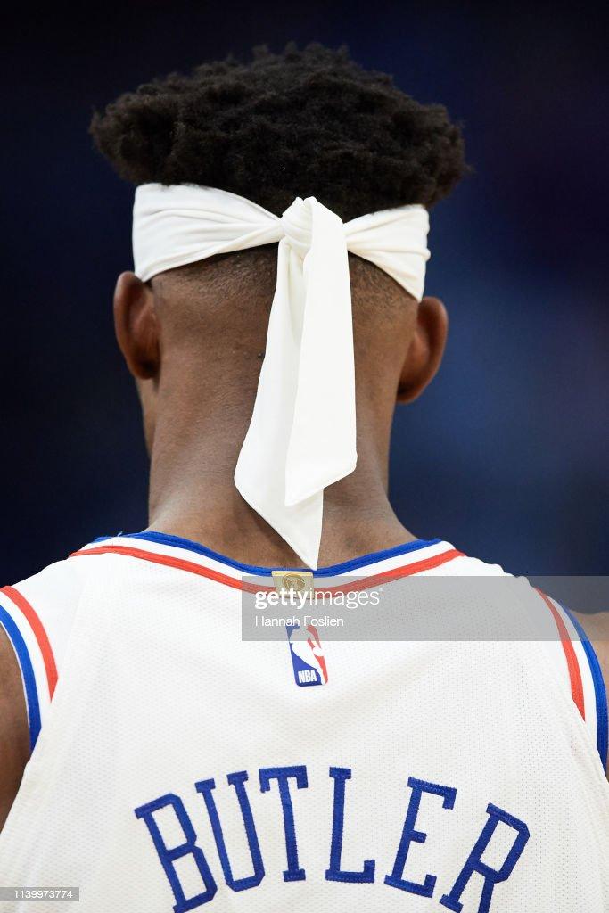 The Headband Of Jimmy Butler Of The Philadelphia 76ers Is Seen