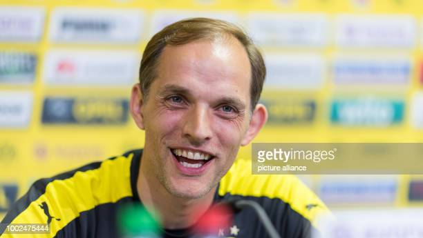 The headcoach of Borussia Dortmund Thomas Tuchel during a press conference in Dortmund Germany 12 May 2017 Photo Guido Kirchner/dpa