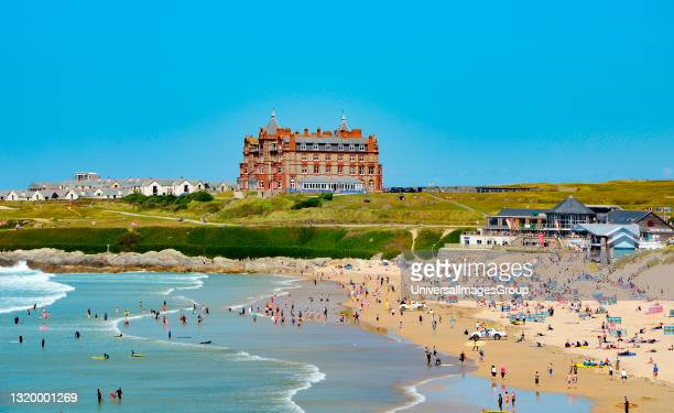 The headland hotel overlooking the famous fistral beach at newquay in cornwall england.