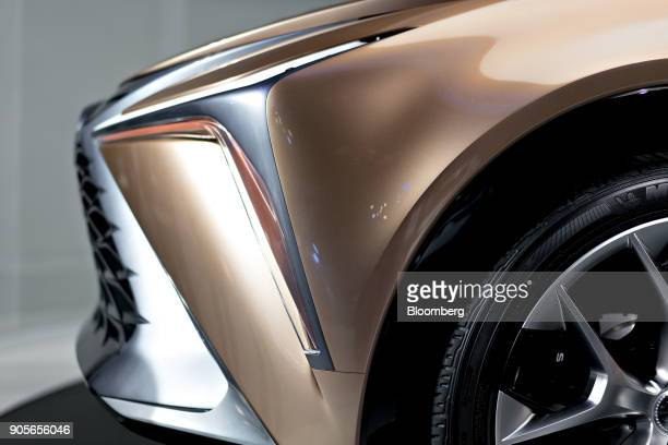 The headlight of a Toyota Motor Corp Lexus LF1 Limitless crossover concept vehicle is seen during the 2018 North American International Auto Show in...